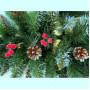 Елка Элитная белый кончик с серебристыми шишками и красной калиной 200 см