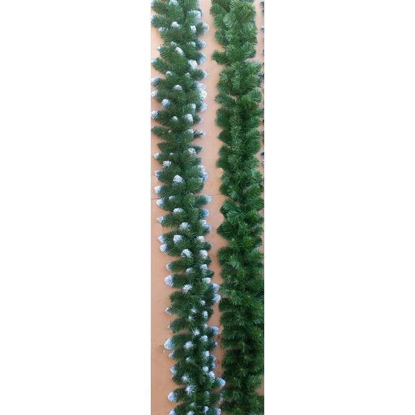 Хвойная гирлянда с белыми кончиками 3 м ,30 см в диаметре